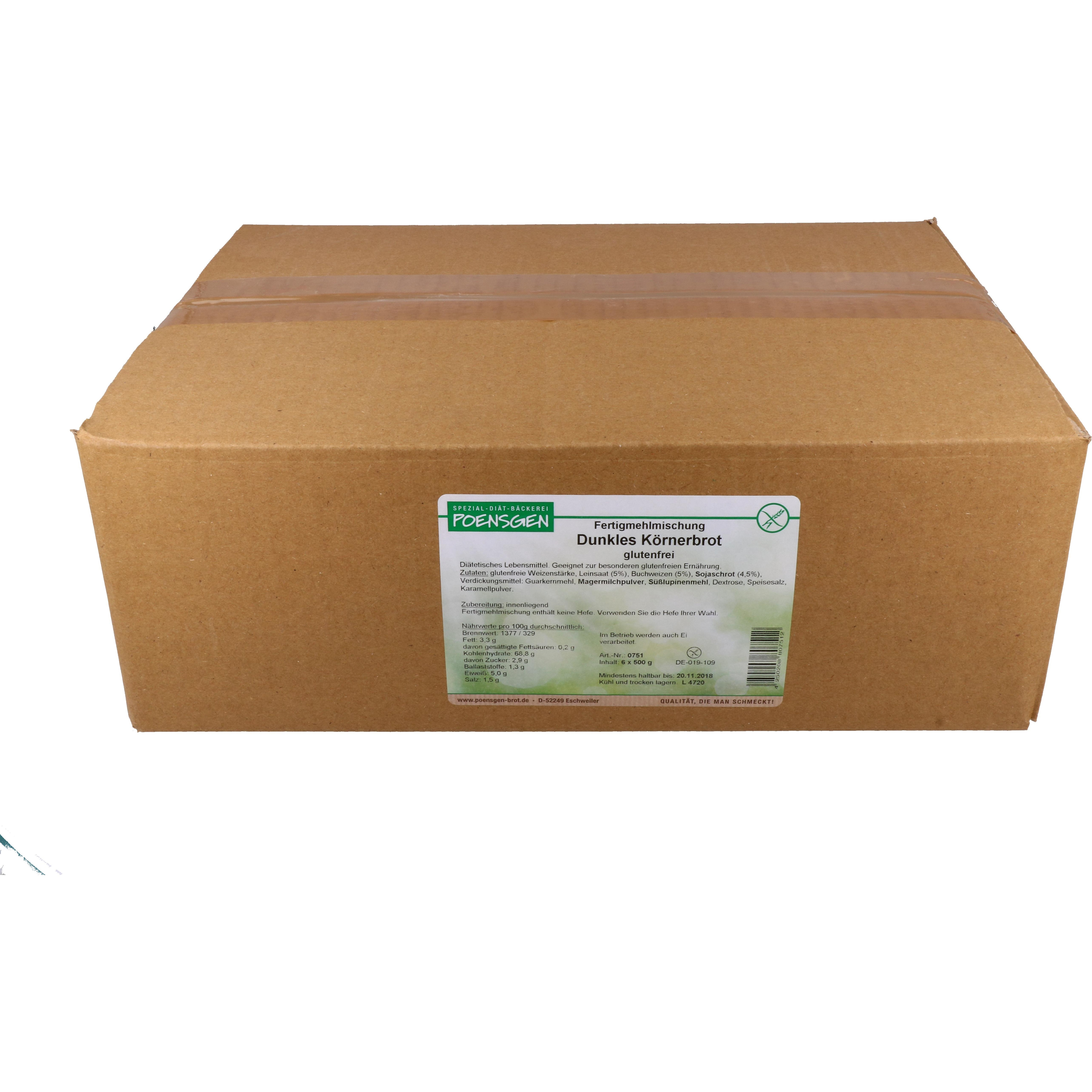 Poensgen Fertigmehlmischung Dunkles Körnerbrot 6 x 500g