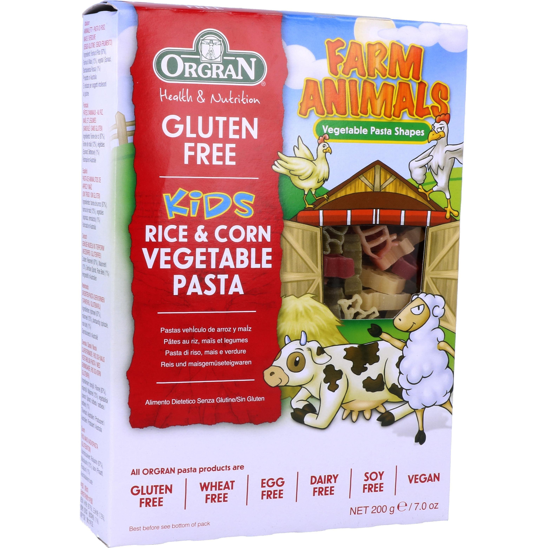 Orgran Kids Rice & Corn Vegetable Pasta Farm Animals 50g