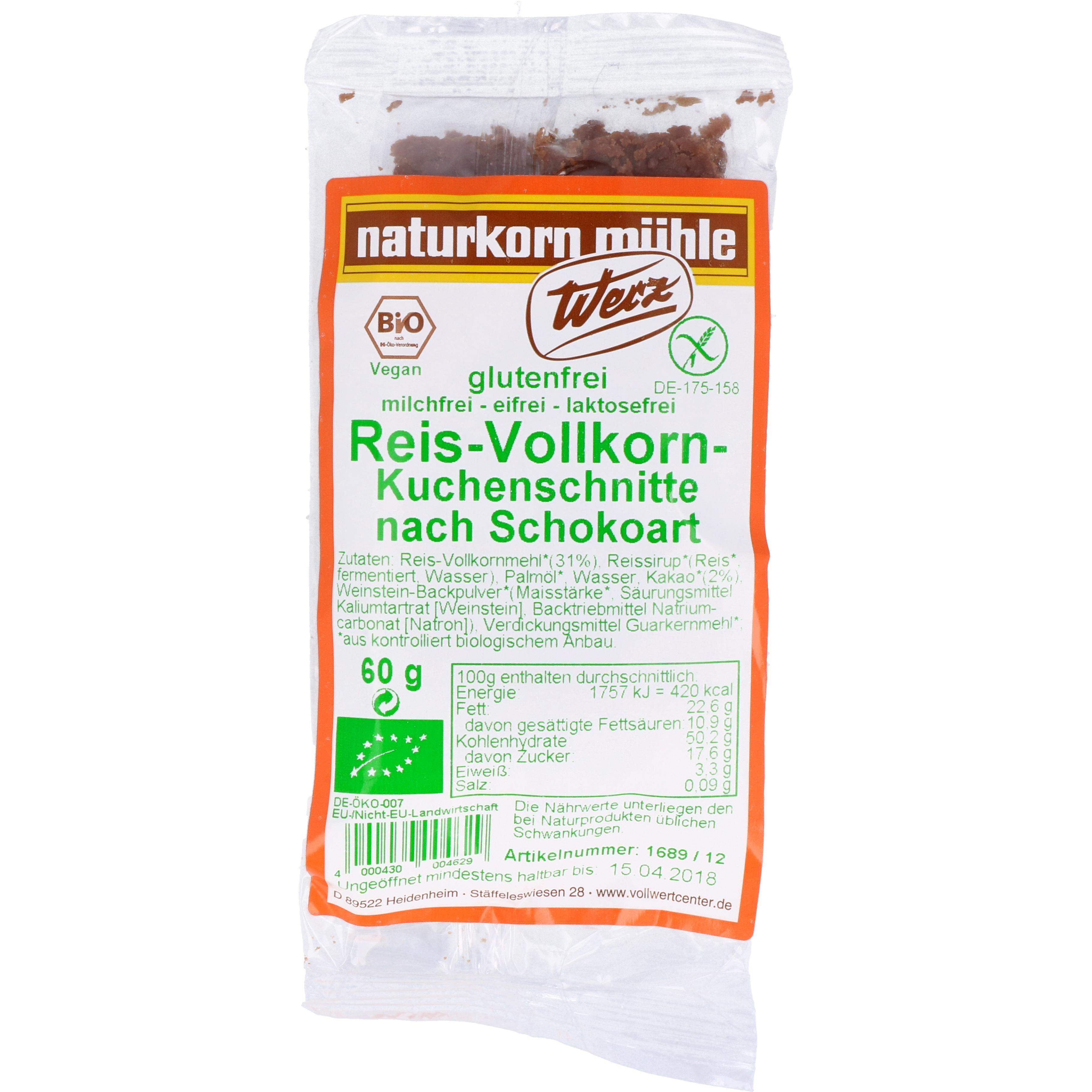 Werz Bio Reis-Vollkorn-Kuchenschnitte nach Schokoart 60g