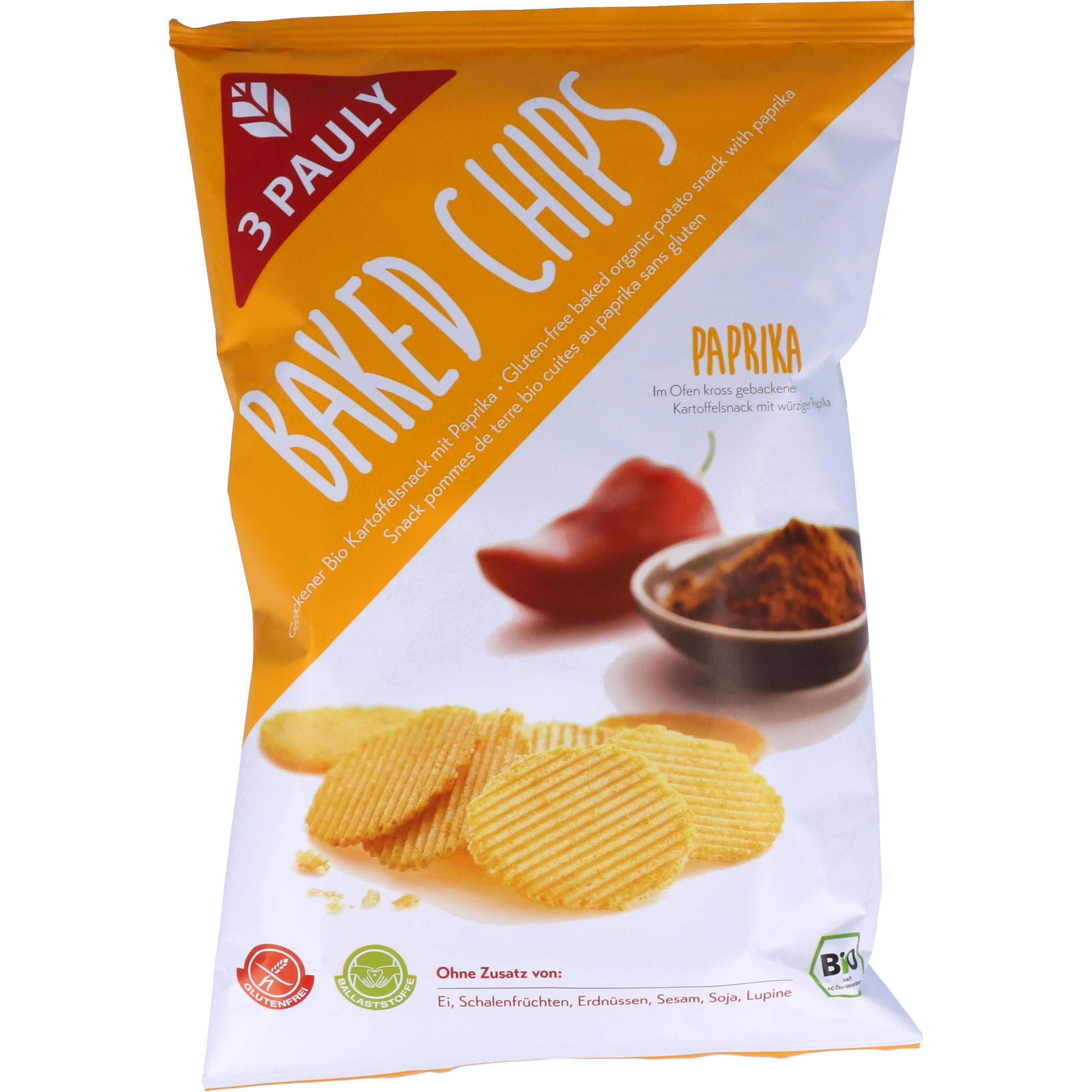 3 Pauly Baked Chips mit Paprika 85g