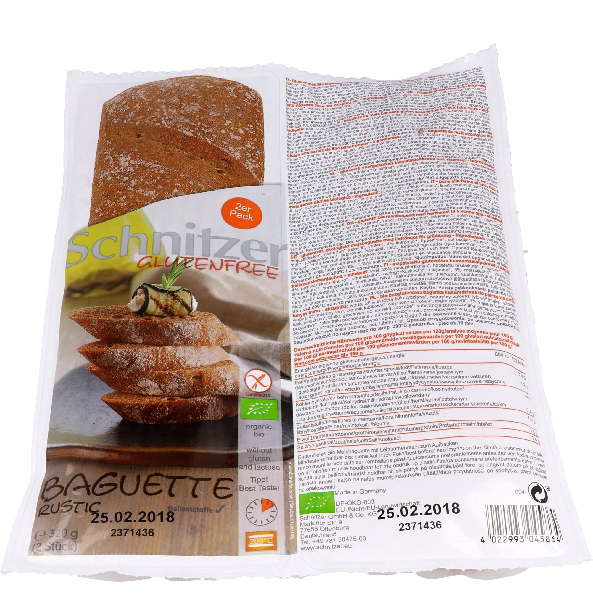 Schnitzer Bio Baguette rustic - rustikales Baguette 320g