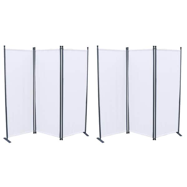 Grasekamp 2 Stück Paravent 3-tlg. Weiß