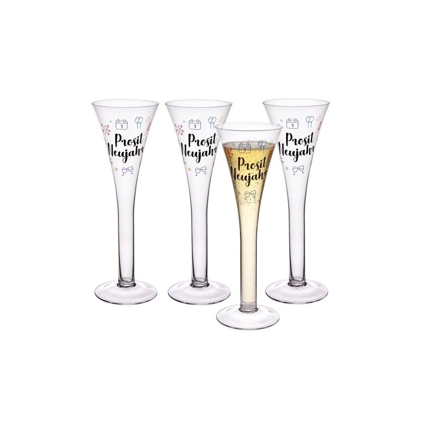 Gräwe Sektglas-Set Prosit Neujahr bunt 4-teilig