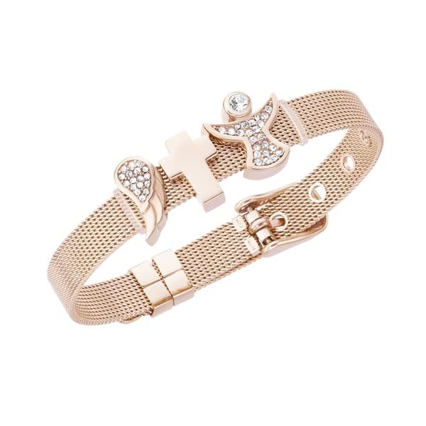 Jacques Charrel Armband Milanaise mit Kristallsteinen Flügel, Kreuz, Engel
