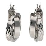 Smart Jewel Klappcreolen glanz / diamantiert, Silber 925