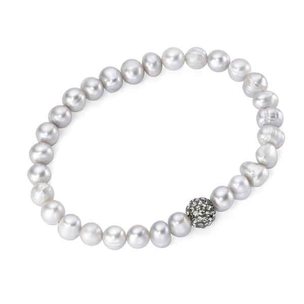 Smart Jewel Armband auf Gummifaden mit Süßwasserperlen und Kristallsteinen