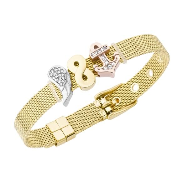 Jacques Charrel Armband Milanaise mit Kristallsteinen Flügel, Infinity, Anker