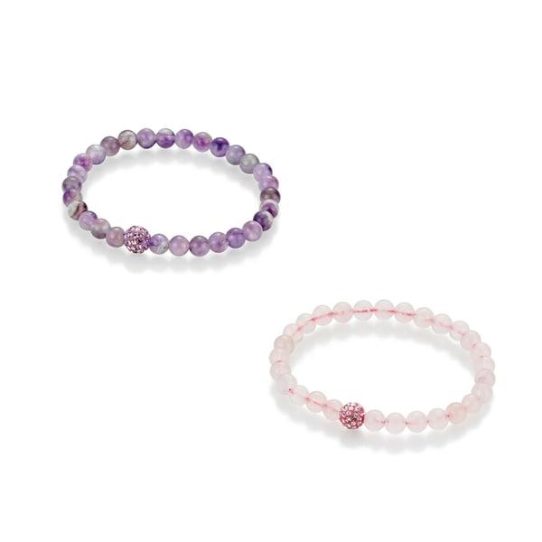 Smart Jewel Armband Armbänder Rosenquarz und Amethystkugeln, Kristallsteine