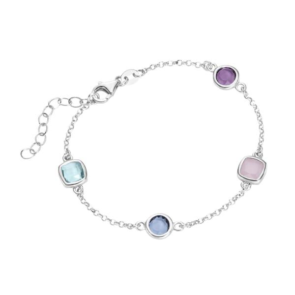 Smart Jewel Armband bunte Steine, Silber 925