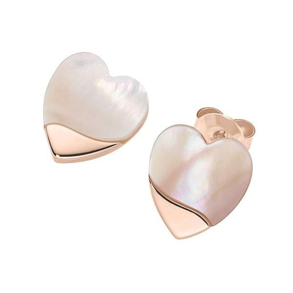 Smart Jewel Ohrstecker Herzen mit Perlmutt, Silber 925