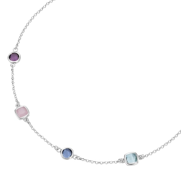 Smart Jewel Collier bunte Steine, Silber 925