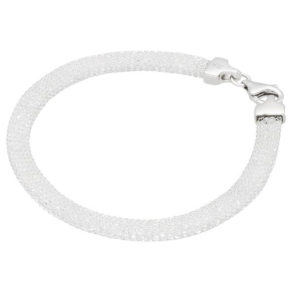 Smart Jewel Armband in Schlauchform gefüllt mit Swarovski Kristallen, Silber 925