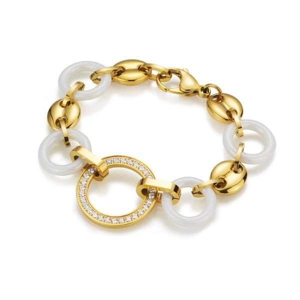 Jacques Charrel Armband mit weißen Keramik-Ringen und weißen Zirkonia
