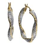 Smart Jewel Creolen gedreht, mittig mit Glitter, Silber 925 bicolor