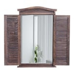 Mendler Wandspiegel mit Fensterläden 71x46x5cm shabby braun