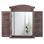 Mendler Wandspiegel mit Fensterläden 53x42x5cm braun shabby