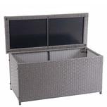 Mendler Poly-Rattan Kissenbox HWC-D88 Basic grau 63x135x52cm 320l