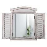 Mendler Wandspiegel mit Fensterläden 53x42x5cm weiß shabby