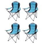 Mendler Campingstuhl HWC-D66 gepolstert blau 4er-Set