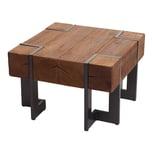 Mendler Couchtisch HWC-A15 Tanne Holz rustikal massiv braun 60x60cm