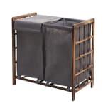 Mendler Wäschesammler HWC-B60 Massiv-Holz 2 Fächer 60x60x33cm 68l braun Bezug grau