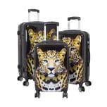HTI-Living Poly-ABS Kofferset 3-teilig, Tierprint Leopard