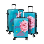 HTI-Living Poly-ABS Kofferset 3-teilig, Blumenmotiv Rose