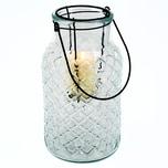 HTI-Living Windlicht mit Henkel Glas, Metall