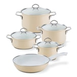 Riess Topf-Set Email 5-teilig CAPPUCCINO