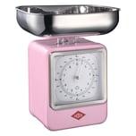 Wesco Retro Waage mit Uhr Pink