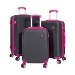 HTI-Living ABS Kofferset 3-teilig, schwarz-fuchsia Santorin