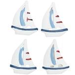 Boote aus Polyresin weiß-blau 4,5x3cm 4 Stück