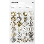 Paper Poetry Adventskalender Zahlen Buttons gold-silber 2,5cm 24 Stück