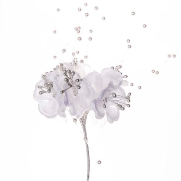Blüte mit Perlen und Perlenschweif Organza weiß 6 Stück