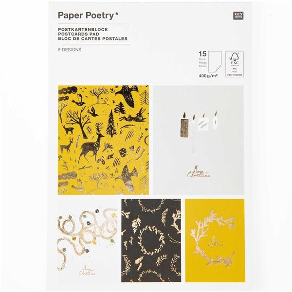 Paper Poetry Postkartenblock Nostalgic Christmas schwarz-gold 12,5x17,6cm