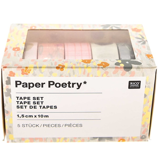 Paper Poetry Tape-Set Crafted Nature 1,5cm 10m 5 Stück