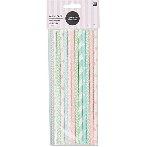 Rico Design Papierstrohhalme Mix pink-blau-grün 24 Stück