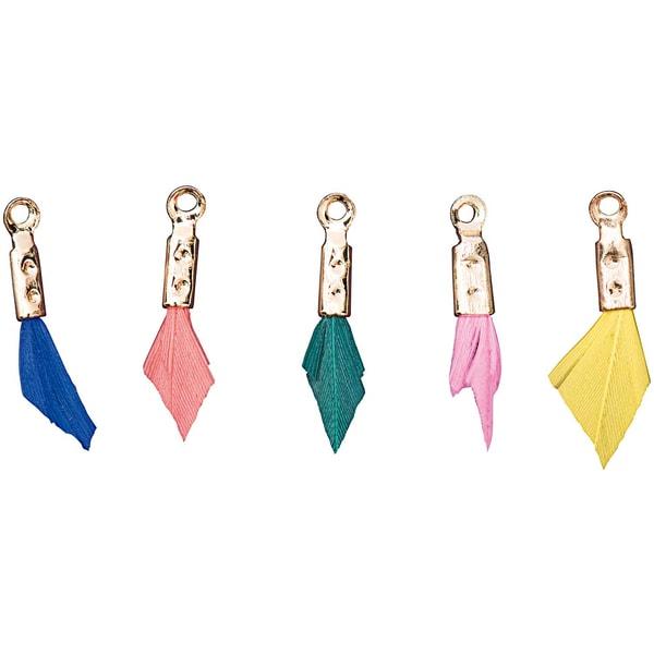 Jewellery Made by Me Anhänger Feder Mix basic 5 Stück