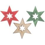 Holzstreu Stern offen grün-rot-weiß 6cm 6 Stück