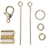 Jewellery Made by Me Endkappe mit Karabiner und Nietstiften gold 5mm 8teilig