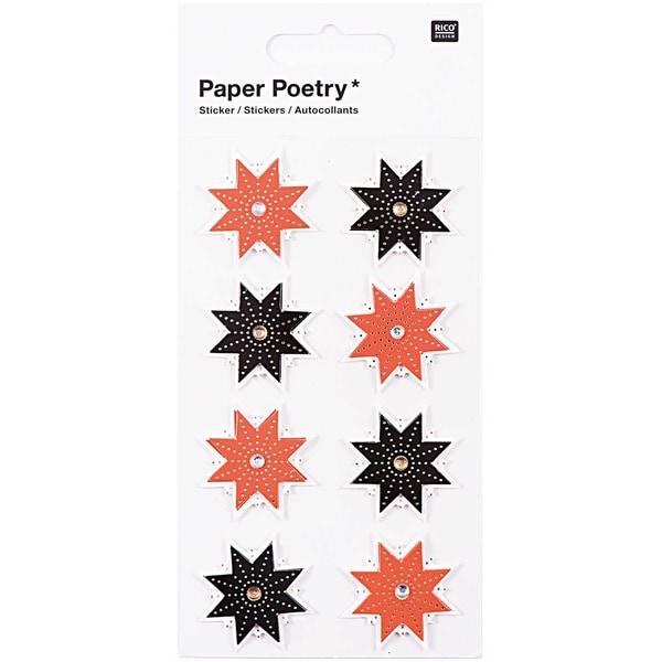 Paper Poetry 3D Sticker Sterne schwarz-rot Hot Foil