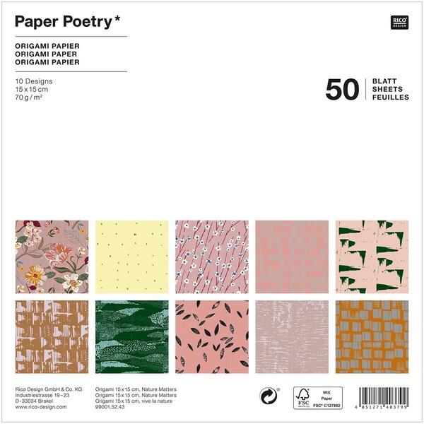 Paper Poetry Origami Nature Matters 15x15cm 50 Blatt