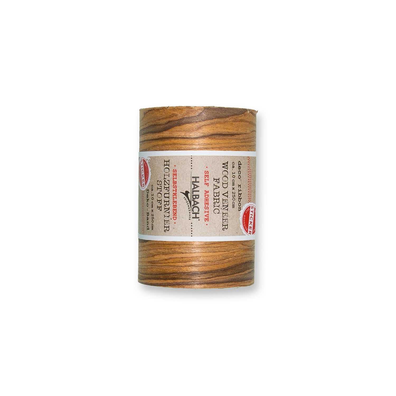 HALBACH Stoff Holzfurnier selbstklebend braun 10cm 2,5m