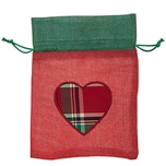 Beutel mit Herz rot-grün 20x15cm