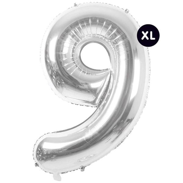 YEY! Let's Party Folienballon Zahl silber 86cm 9