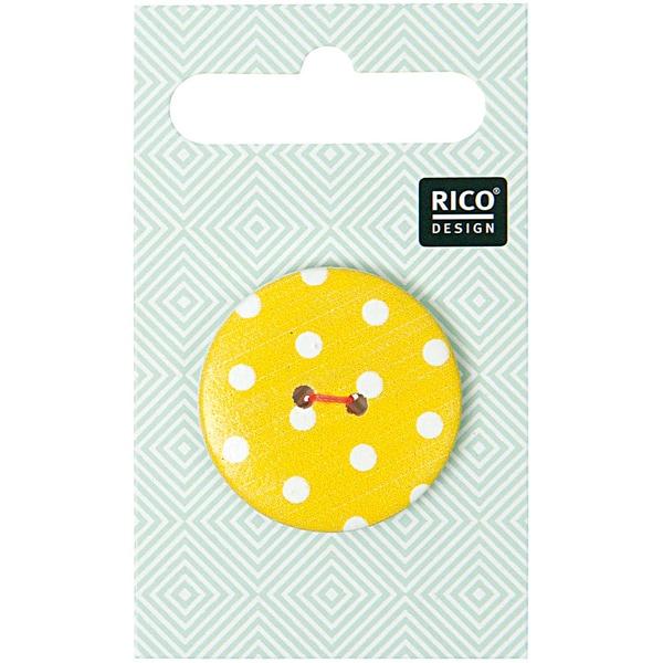 Rico Design Knopf gelb mit Punkte 3cm