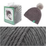 Rico Design Wild Wild Wool Häkelset Mütze mit Bommel grau
