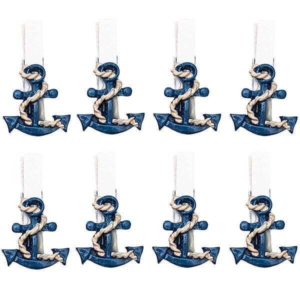 Anker auf Klammer blau-weiß 2,7x2,5cm 8 Stück