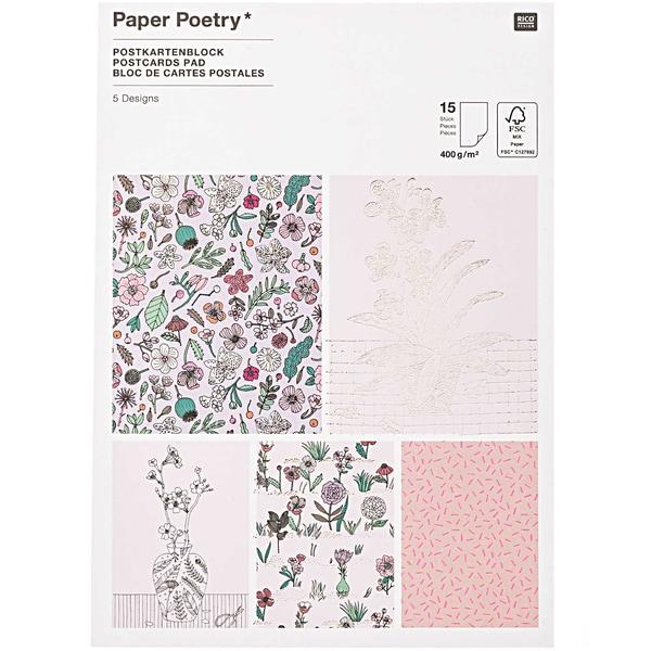 Paper Poetry Postkartenblock Hygge Flowers 12,5x17,6cm