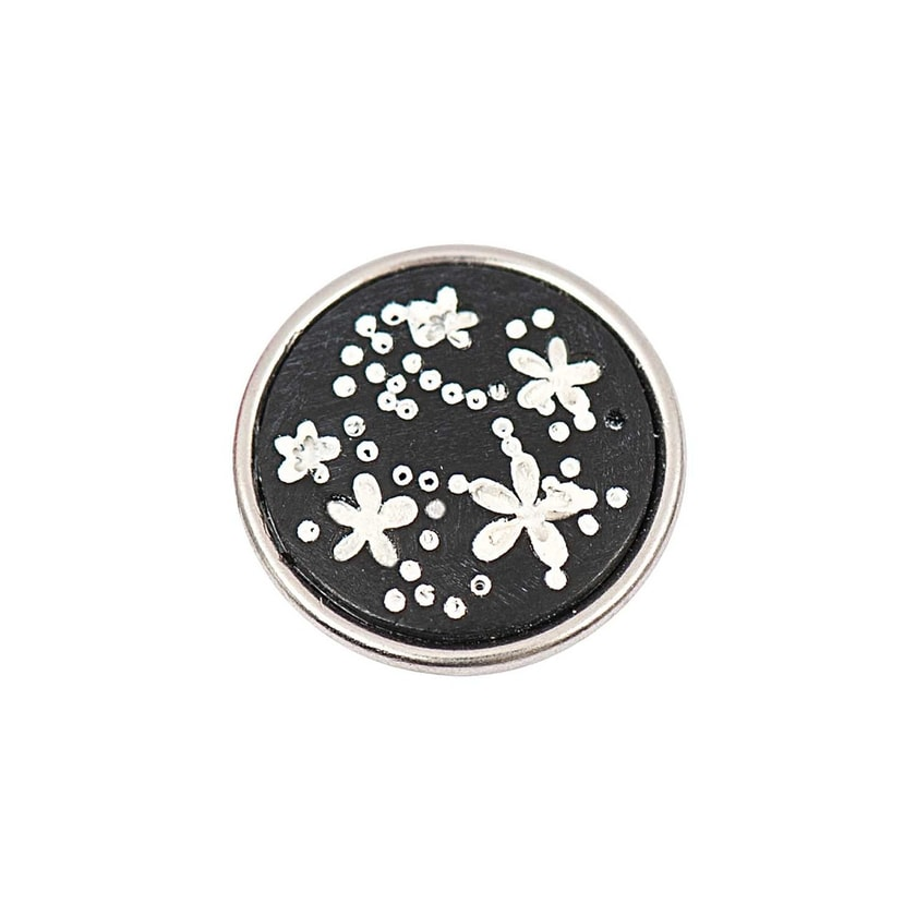 Rico Design Knopf Blumen weiß-schwarz 14mm